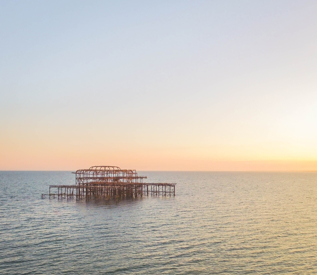 Brighton, Old Pier, Beach, Sea Sunset