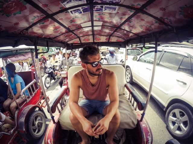 exploring Phnom Penh in a tuk tuk