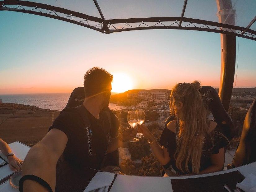 Dinner in the sky Malta sunset