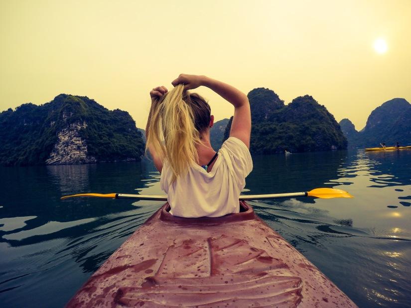 Kayaking around Halong Bay Vietnam