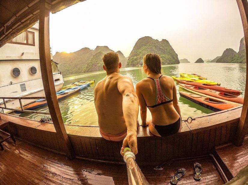 colourful Halong Bay Selfie Vietnam Gopro Stick
