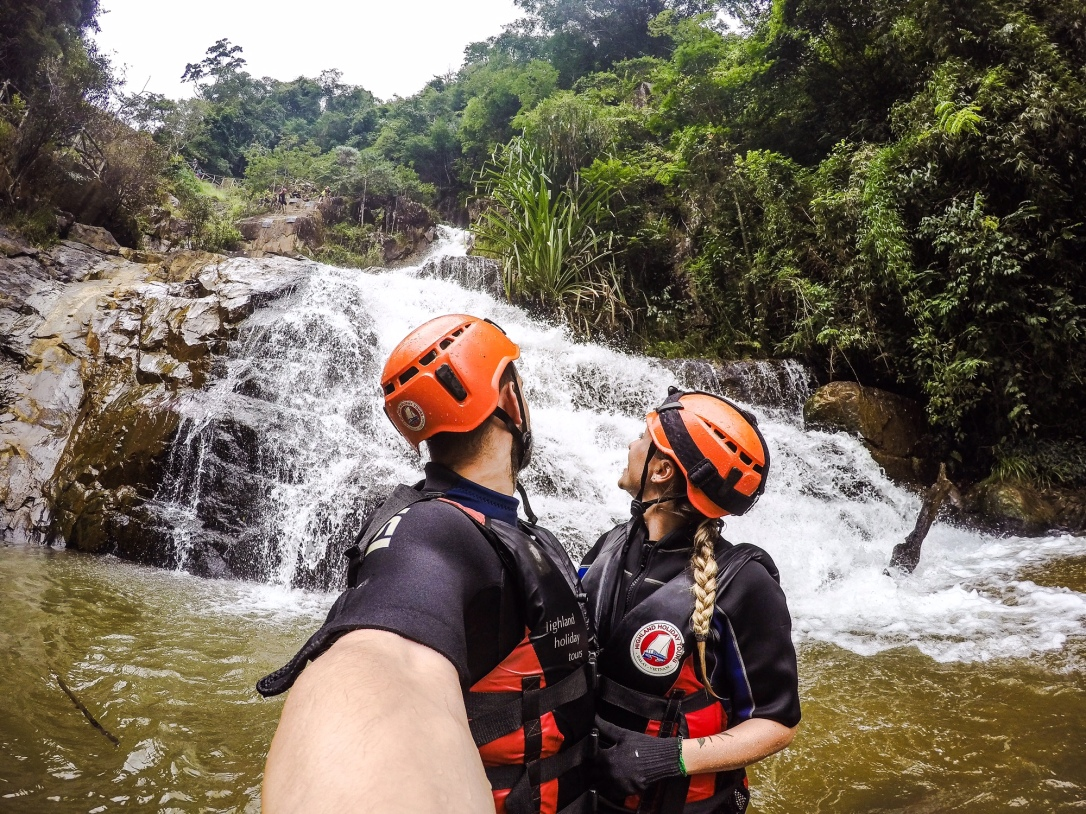 canyoning down waterfalls Dalat Vietnam
