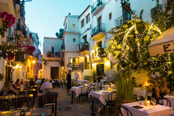 Restaurant, Old Town, Ibiza, Fairy Lights, Cute, Romantic