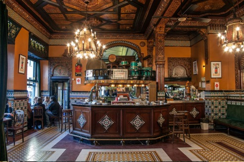 Cafe Iruna, Bilbao, Period Decor, 1903, Vintage