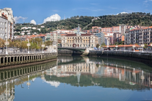 Bilbao, River, Buildings, Architecture, Hillside