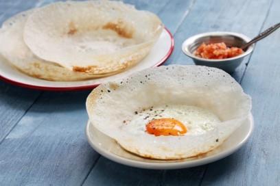 Sri Lankan food, egg, hopper, nest