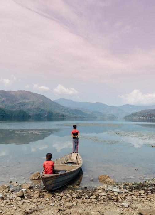 Lakeside Pokhara, Nepal, Mountains, Lake, Fishing, Boys