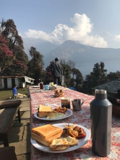 Nepal, Trekking, Trek, mountain, breakfast, Views
