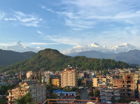 Pokhara, Rooftop, skyline, View, Mountains, Nepal