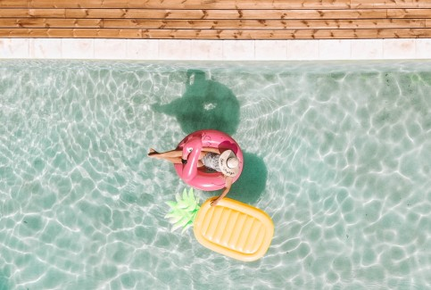 France, Pool, Swim, Inflatables, Salt and Coconuts, Drone, DJI, Birds Eye View