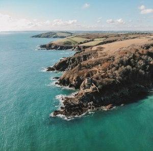 Fowey, Cornwall, Coastline, Landscape, Sea, Sky, Castle, Incredible, Drone