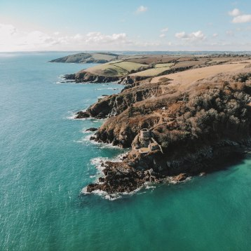 Fowey, Cornwall, Coastline, Landscape, Sea, Sky, Castle, Incredible, Drone