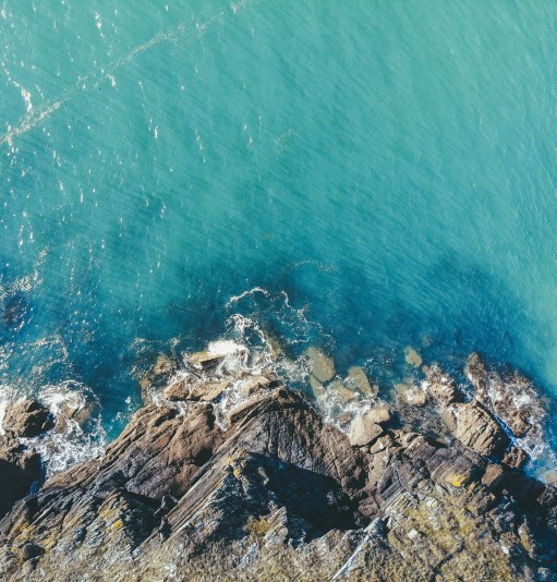 Sea, Cornwall, Fowey, Drone, DJI, Mavic Air, Blue, Beautiful, Salt and Coconuts, Travel