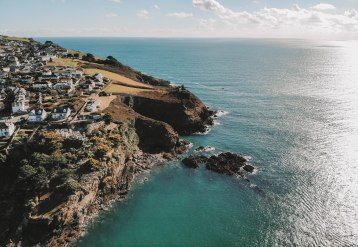 Fowey coastline, stunning, drone footage, DJio, Mavic Air, Photo, view from above, flying high
