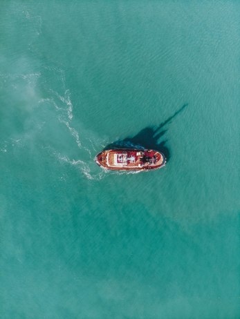 Birds eye view, Fowey, Cornwall, Ship, Sea, Drone, DJI, Mavic Air, Blue,
