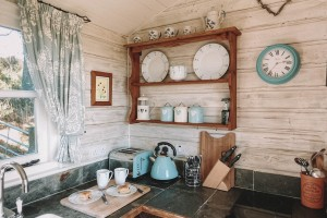 Shepherd's Hut, Cornwall, Kitchen, homely, Salt and Coconuts
