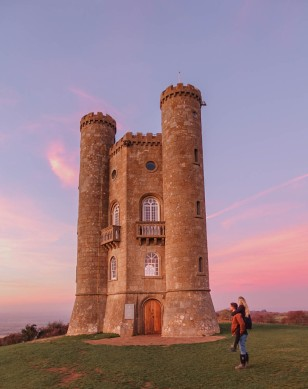 Salt and Coconuts, Broadway Tower, Sunset, Pink Skies, Beautiful, Landscape, Colours, Travel, Couple Goals